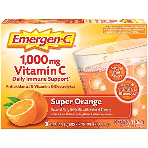 Emergen-C Vitamin C 1000mg Powder (3 Count, Super Orange Flavor), with Antioxidants, B Vitamins and Electrolytes, Dietary Supplement Fizzy Drink...