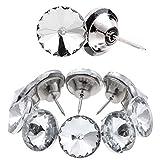 Kyrio 60 tachuelas de diamantes de imitación con botones de cristal transparentes para tapicería, botones de tapicería para sofá, cama, cabecero, manualidades, decoración (20 mm)