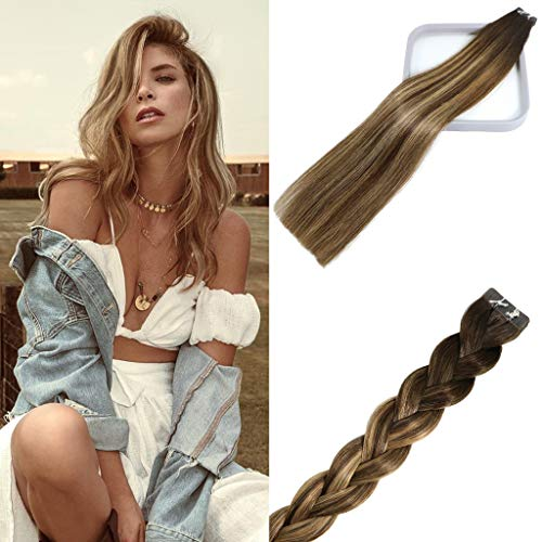 Tape In Human Hair Extensions Natural Ombre Almond Chocolate Brown To Dark Blonde Balayage Highlight Hair Extensions 20 Pieces Per Set Natrual Remy Hair Thick Silky Full End Seamless 50g 22Inch