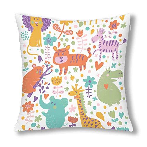 WXM - Federa per cuscino con motivo animale, motivo: leone, tigre, zebra, elefante, con cerniera, 45 x 45 cm, decorazione per la casa