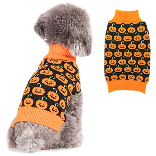 kyeese Dog Sweater with Leash Hole Dog Turtleneck Sweaters Pumpkin Pattern Knitwear Warm Pet Sweater for Fall Winter