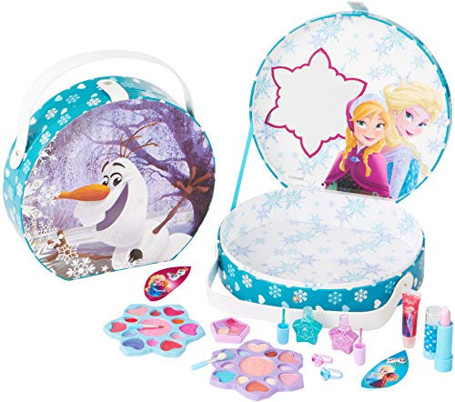 Disney Frozen Die Eiskönigin großer Schminkkoffer für Mädchen, 16teilig (Lipgloss, Lidschatten, Lippenstift, Rouge, Nagellack, Applikatoren, Ringe)