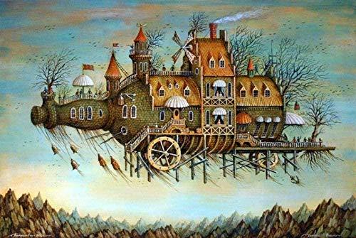 XZJXGZ houten puzzels voor volwassenen 1000 stuks Wijnfles kasteel 70x50cm kinderen voor educatief speelgoed verjaardagscadeau woondecoratie puzzel