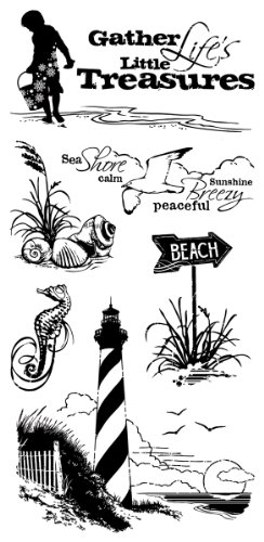 Inkadinkado Down by The Seaside Clear Beach Stamps Set, 7 pc