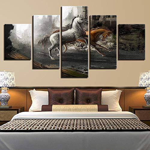 rkmaster-muurkunst afbeelding Hd druklijst 5 stuks paardenrace schilderij decoratie modulaire woonkamer canvas fantasie spel poster 30 cm * 40 cm * 2 30 cm * 60 cm * 2 30 cm * 80 cm * 1 geen lijst