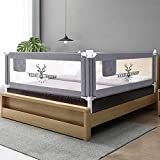 SURPCOS Bed Rails for Toddlers -New Upgraded Extra Long Bed Guardrail for Kids Great Fit for Twin, Double, Full-Size Queen & King Mattress (76 x 30 Inch, Buck)