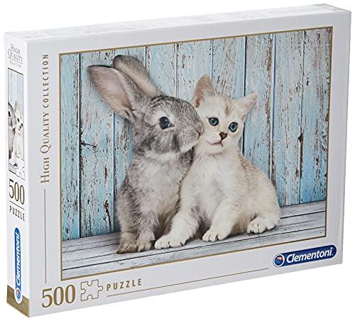 Clementoni-Los Pingüinos De Madagascar Puzzle 500 Piezas Gato Conejo, Color (350049)