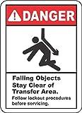 Etiqueta - Seguridad - Advertencia - Stay Clear of Transfer Area Sign 254mmx355mm - Decal for Office - ficina, empresa, escuela, hotel