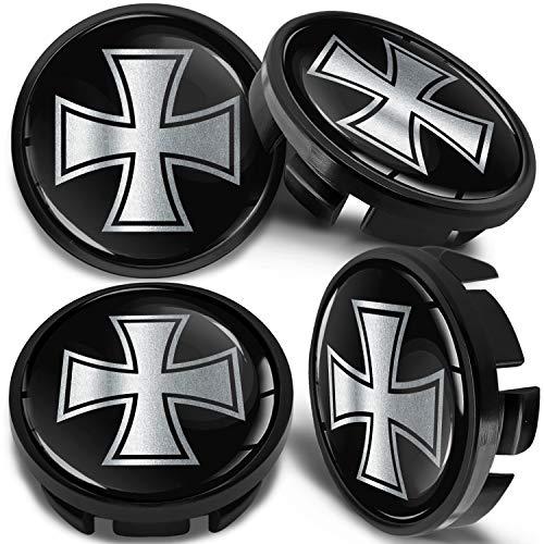 SkinoEu 4 x 65mm Tapas de Rueda de Centro Centrales Llantas Aluminio Compatibles con Tapacubos VW Número de Pieza 3B7601171 / 6U7601171 Negro Plata Cruz de Hierro CV 32