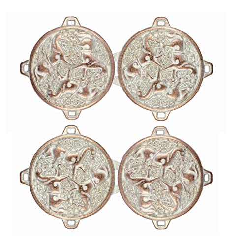 Bezelry 3 Pairs Celtic Horses Cape or Cloak Clasp Fasteners. 62mm x 35mm Fastened. Sew On Hooks and Eyes Cardigan Clip (Copper White Patina)