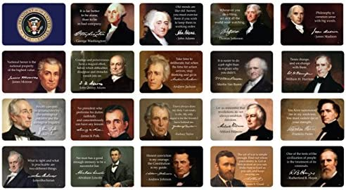 US Presidents Quote Cards Inspirational Quotes and Full Color Images With Presidential Signatures product image