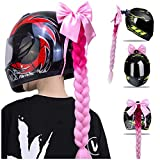 xkq Pink Motorcycle Helmet Pigtails Women Motor Decoration Ponytails Hair Braids with Bow for Motor Helmet