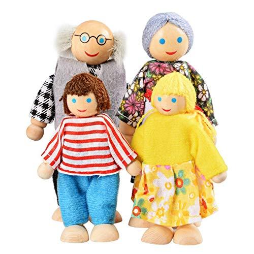 TOYANDONA 7 PCS Casa delle Bambole in Legno Famiglia Set Bambole Casa delle Bambole Bambola di Legno Famiglia Pretend Gioca Figure Famiglia Gioco di Ruolo Finta Play Bambole per I Bambini