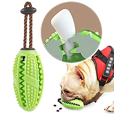 onebarleycorn - Dog Toothbrush Stick,Food Dispensing Dog Chew Toy Treat Training Ball Puppy Dental Care Teeth Cleaning Nontoxic Natural Rubber Bite Resistant (Green)