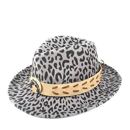 WANGZHI Herbst Winter Damen Fedora Hut Herren Hut Classic Hut Fedora Hut Wolle Polyester Qualität Hut mit Gürtel grau grau 55-58 cm