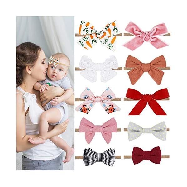 Baby Girl Headbands and Bows Set, Tiaoyeer 10 Pack Newborn Infant Toddler Nylon Flower Headband Hair Accessories