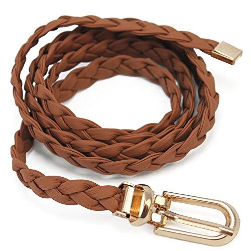 Pretina Cinturón Correa Cintura Cuero PU Trenzado Camello para Vestidos Mujer