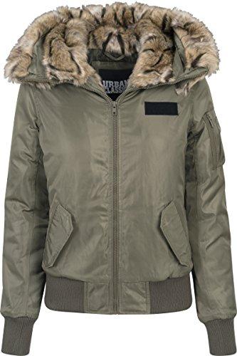 Urban Classics Damen Ladies Imitation Fur Jacket Bomber Jacke, Grün (Darkolive 551), Medium