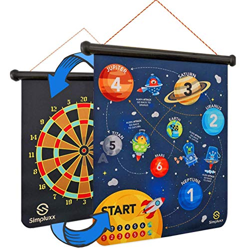 SIMPLUXX Magnetic Dart Board - Kids Fun Space Adventure or Monster Mayhem Portable Dartboard Set. with Traditional Bulls Eye Game on Reversible Double Sided Back, Played with Safe Magnet Darts