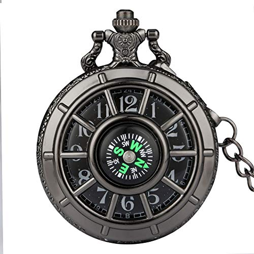 XVCHQIN Quartz Pocket Watch for Men Women Compass Hollow Cover Starry Sky Dial Ste unk Clock Pendant Necklace Fob Watches,b
