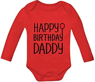 Tstars Happy Birthday Daddy Cute Boy/Girl Bodysuit Dad's Gift Baby Long Sleeve Bodysuit