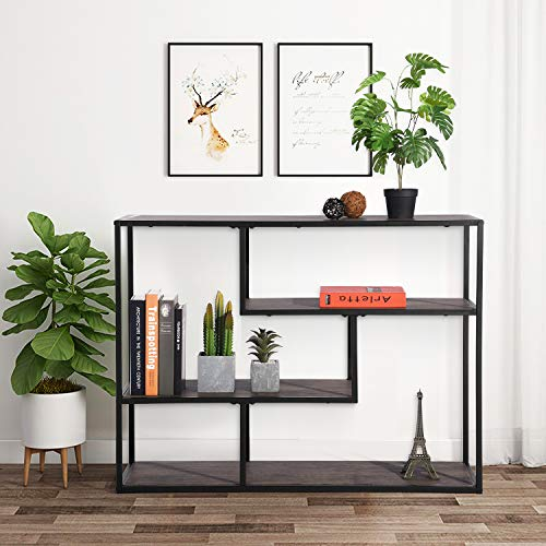 FurnitureR Librerías industriales de 4 Niveles con Marco de Metal, estantería Vintage Abierta Etagere, estanterías multifuncionales para colección Negro