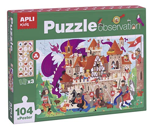 APLI Kids- Castillo Puzle Observation, 104 Piezas, Multicolor (17916) (Juguete)