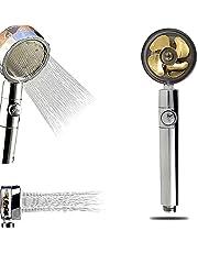 シャワーヘッド 増圧しゃわーへっど マイクロバブル 節水用パワーシャワーヘッド 高圧プロペラ駆動ハンドヘルドシャ ファンとスイッチ付きターボシャワーヘッド (ゴールド)