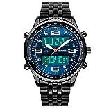 unici doppio fuso orario degli uomini analogica affari orologio digitale quadrante blu banda orologio da polso in acciaio inossidabile