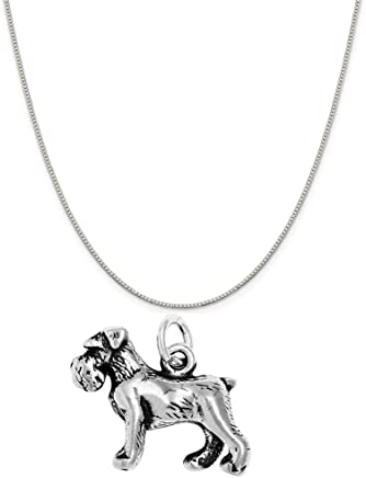 "Raposa Elegance Sterling Silver Various Dog Breed Charm Necklace (16"", 18"" or 20"" Box Chain)"