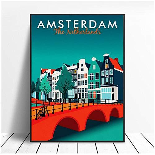 MULMF Amsterdam canvasdruk muur kunst poster foto moderne minimalistische slaapkamer woonkamer decoratie - 50X70cm zonder lijst