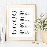 MJKLU Lienzo escandinavo Pintura al óleo Imagen de Maquillaje de Ojos para salón de Belleza Tienda decoración del hogar Cartel de Moda Modular Simple Sala de Estar