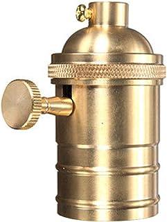 Portalámparas retro E26/E27, latón antiguo de cobre Edison con interruptor de encendido y apagado, soporte para lámpara colgante (dorado)