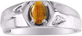 RYLOS Mens Ring with Oval Shape Gemstone in Sterling Silver .925-6X4MM Color Stone Birthstone Rings
