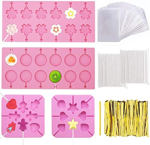 FULANDL 4Pack Silicone Lollipop Molds Round Trays Cherry Blossoms Heart Chocolate Hard Candy product image