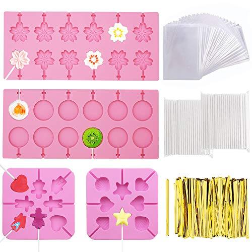 PUDSIRN Moldes de silicona para piruletas, bandejas redondas, flores de cerezo, chocolate con corazón con 760 lazos dorados, 200 palitos de piruleta, 100 bolsas para piruletas