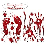 6 PCS VEETON Bloody Halloween Decorations Bloody Footprints Floor Decals Clings Bloody Handprint Wall Decor Window Stickers for Horror Vampire Zombie Halloween Party