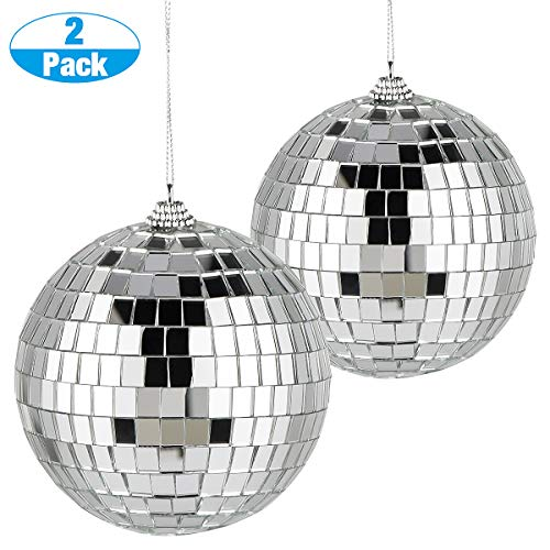 chudian 2 Pack Spiegelballen, Zilver Disco Bal Reflecterende Spiegel Bal Glazen Spiegel Glitter Ball Disco Spiegel Bal Decoraties voor DJ Wedding Stage Party Kerstmis (10 * 10CM)