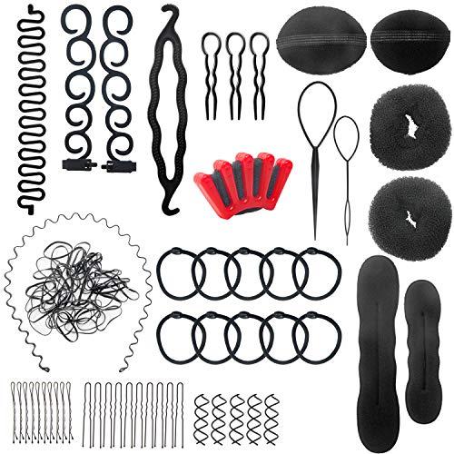 Accessori per Capelli Kit 28 Pezzi Acconciatura Set Hair Styling Tool Clip per Capelli Rilievi Pins Pastiglie Schiuma Sponge Ciambella Segnalini Cravatte Pennarello per Anello Harrspange