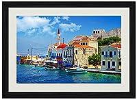 美しいギリシャコーナー 風景の写真木製黒額縁アートポスター(40cmx60cm)