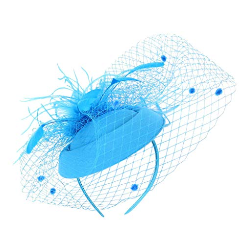 CANDLLY Stirnband Damen, Kopfbedeckung Zubehör Kopfschmuck Federn der Frauen Fascinators Hut Haarnadel Cocktail Headwear Pillbox Hut(Himmelblau,One Size