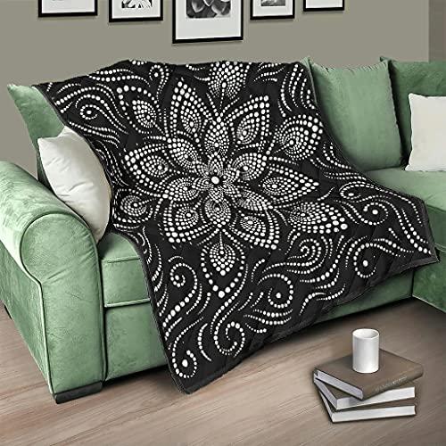 AXGM Colcha de diseño con ondas, lunares y flores, 150 x 200 cm, color blanco