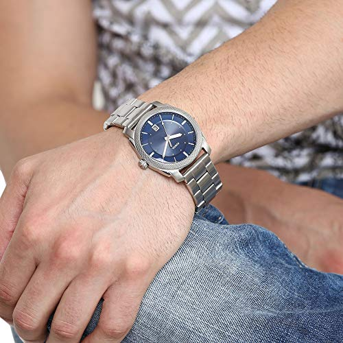 Fossil Men's Machine 3H Quartz Stainless Three-Hand Watch, Color: Silver, Blue Dial (Model: FS5340IE)