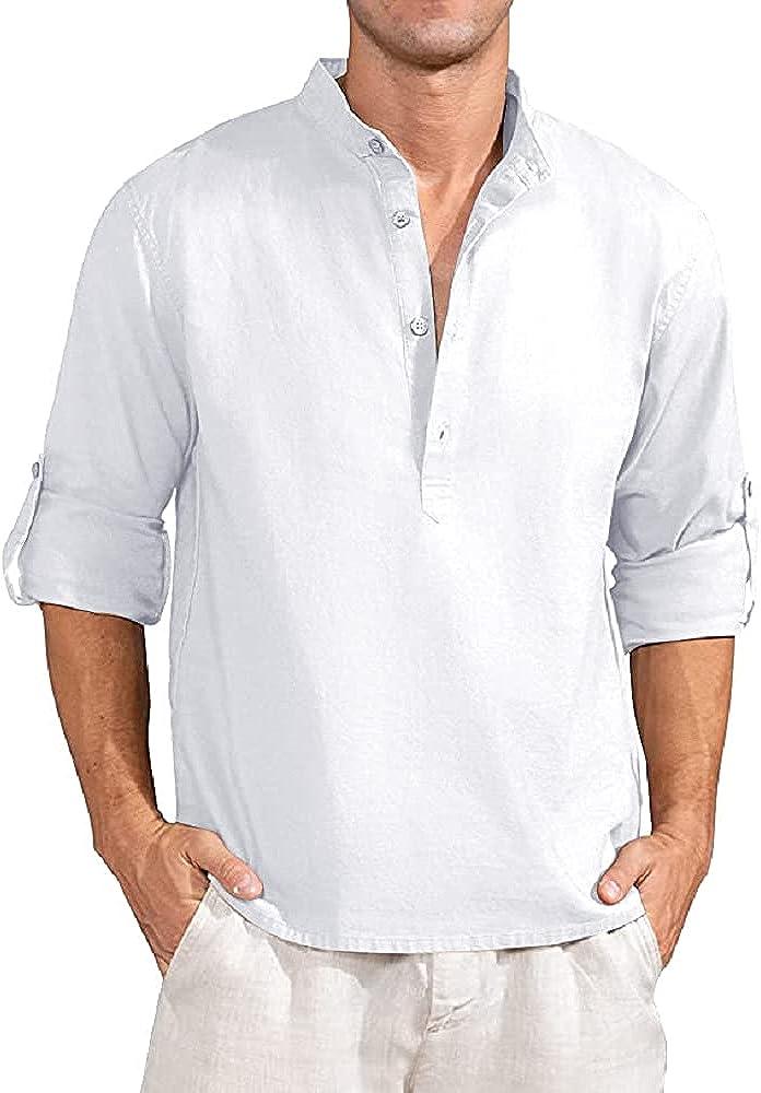 JEKAOYI Mens Cotton Linen Henley Button Down Shirts Casual Hippie Long Sleeve Beach Tee Tops