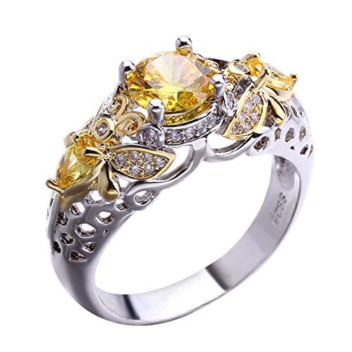 Shumu Queen Bee Ring Dual Color Zircon Hollowed Out Band Ring for Women for Wife Girlfriend