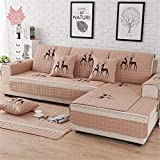 Funda de sofá acolchada de algodón con bordado de ciervos pastorales navideños para fundas de...
