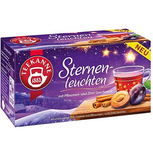Teekanne Früchtetee STERNENLEUCHTEN mit Pflaumen- und Zimt Geschmack (20 Beutel je 2,5 Gramm / insg. 50 Gramm) WEIHNACHTEN HIGHLIGHT