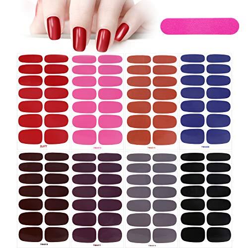 MWOOT 8 Hojas Pegatinas de Esmalte de Uñas,Color Sólido Adhesivas Nail Art...