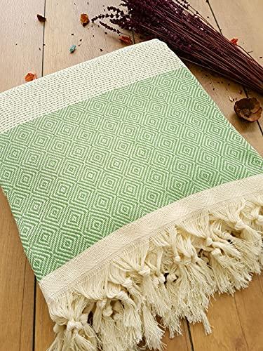 Safir Tagesdecke Überwurf Decke - Wohndecke - perfekt für Bett & Sofa, 100prozent Baumwolle - handgefertigte Fransen, 200x240cm (Grün)
