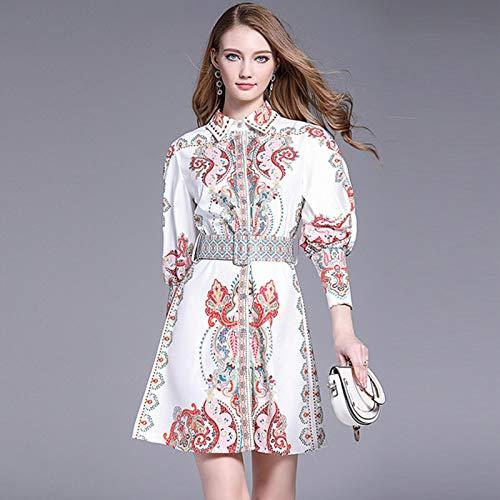 Dresses Hübsche Kleid Kleider Damen Vintage Muster Druck Frauen Kleid Revers Laterne Ärmel Hohe Taille Mit Schärpen Knop